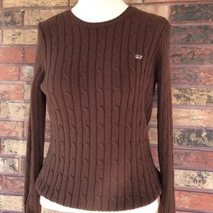 Vineyard Vines Women's M Brown Cable Knit Sweater